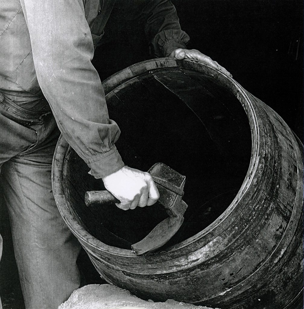 Photo by Alfons Vives working on a barrel in the barrel-making workshop of Antoni Canals